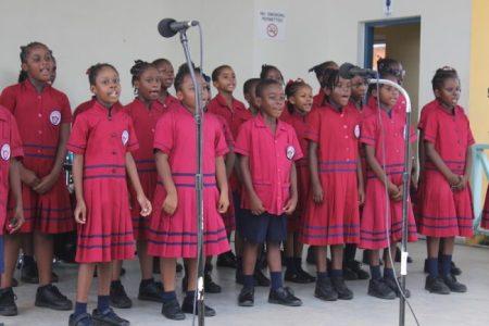 The Gordan Greenidge Primary choir performing a medley of Barbadian folk songs.