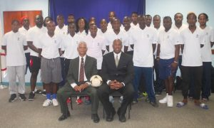 Participants of the CONCACAF Goalkeeping Coaching Course, with Claine Plummer sitting at right. The BFA's Adrian Donovan is seated at left.