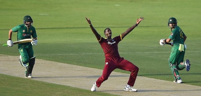 Beleaguered captain Jason Holder was not appealing for mercy here, but for an LBW decision which wasn't given.  He joined Carlos Brathwaite as having lead the Windies to respective 3-0 whitewashes.