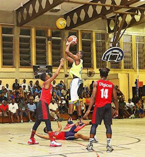 Captain Joel Hunte takes a shot during his game- high 20 points for Discover 246 Cavaliers in the final.