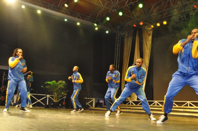 ADL Adrenaline Dancers performing their piece 'Going for Gold'. A tribute to Bajan athletes.