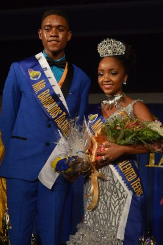 The Winners of Barbados Talented Teen Pageant Miles Wilkinson and Reanne White.