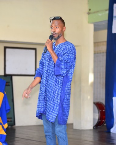 Adrian Green had the students' full attention with his poem about liking oneself.