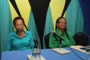 NUPW's Acting Assistant General Secretary Delcia Burke (left) and General Secretary Roslyn Smith.