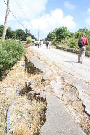 Barbados Labour Party officials and journalists visited White Hill, St Andrew, today on the anniversary of the horrific landslide, which occurred two years ago as a result of bad weather.