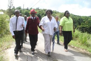 Opposition Leader Mia Mottley (second from right) shares a light moment with members of her Barbados Labour Party, including (from left) MP for St George North Gline Clarke, MP for St Andrew George Payne and personal assistant to the Opposition Leader Pat Parris.