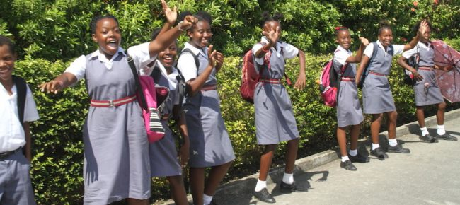 These students of the Coleridge & Parry School in St Peter were eager to be part of history.