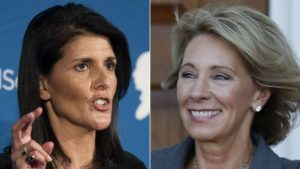 Nikki Haley, left, and Betsy DeVos will need Senate approval.