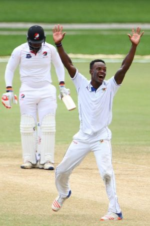 Barbados' captain Kevin Stoute roars a successful appeal against Red Force's Barbadian all-rounder Roshon Primus.