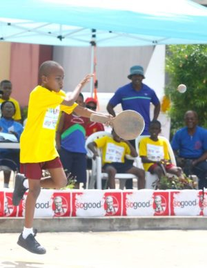 Suave' Clarke delivering a forearm drive in the team competition for St Stephen's Primary who won 2-1 over Bay Primary.
