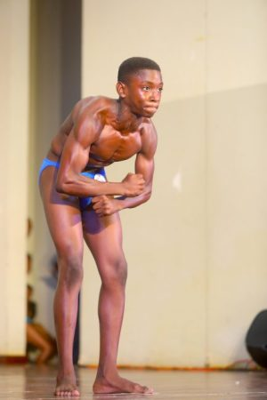 Trayvean Harvey brought a high level of intensity to the boys 12-15 bodybuilding title for the Alleyne School.