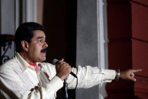 Venezuela's President Nicolas Maduro talks to the media after his meeting with former Spanish prime minister Jose Luis Rodriguez Zapatero in Caracas, Venezuela, on Monday.