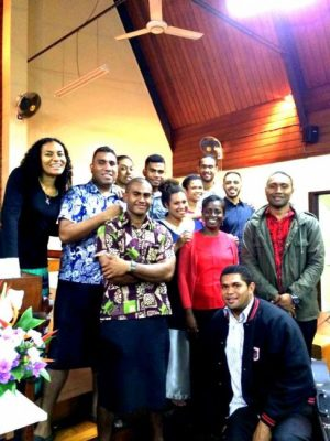 Lynn Beckles (in red top) with members of the Wesley City Mission Church worship team.