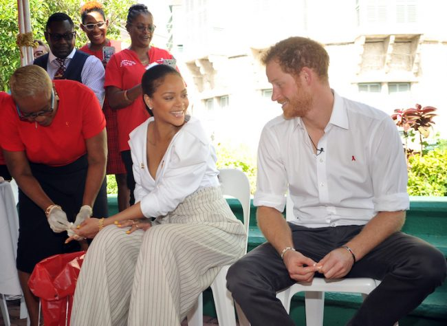 Rihanna and Prince Harry visited the testing booth at the Man Aware display at Heroes' Square this morning.