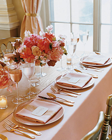 View In Gallery Pink Gold And Chevron Wedding Table