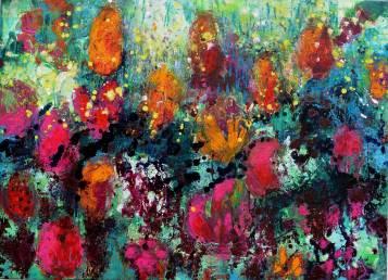Blütenfeld 1, 2017, 80x110cm, Acryl auf Leinwand