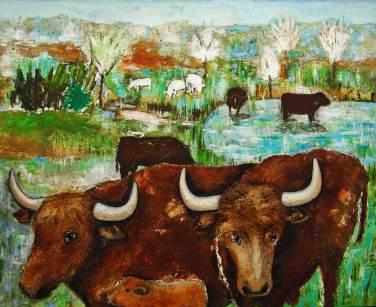 Herde in Landschaft, 2012, 160x195cm, Mischtechnik auf Leinwand