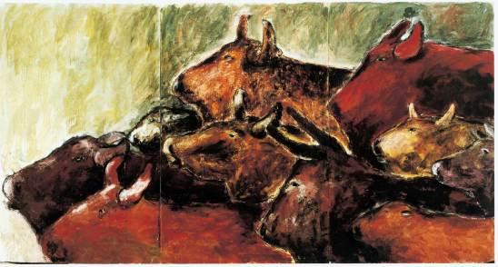 Herdentiere, 1987, 220x420cm, Erde Pigment auf Leinwand