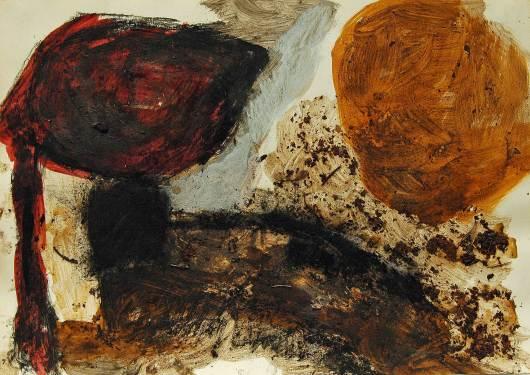 Laub 1, 1991, 30x42cm, Erde, Laub, Kohle, Pigment-auf Papier