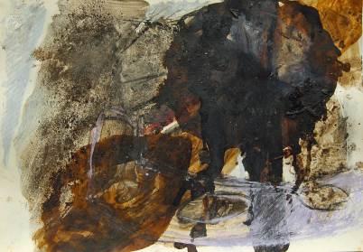 Laub 5, 1991, 30x42cm, Asche, Tusche, Pigment auf Papier