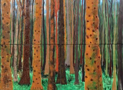 Mischwald, 2015, 160x220cm, Mischtechnik auf Leinwand
