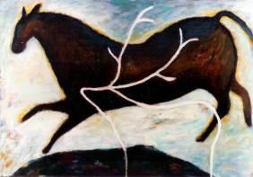 Pferd und Hirsch 3, 1985, Acryl auf Leinwand