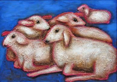 Schafe 3, 2007, 50x70cm, Mischtechnik auf Leinwand
