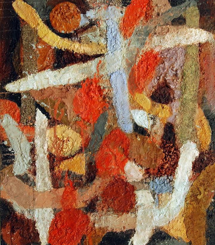 Übergänge 2, 2010, 110x95cm, Erde Sand Steine Pigment auf Leinwand
