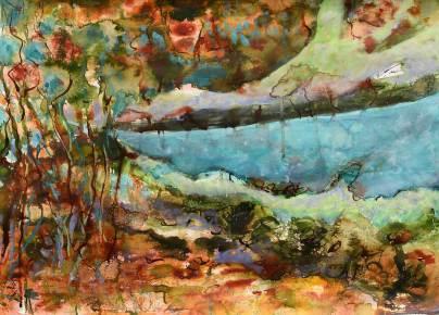 Wasserlandschaft, 2016, 50x70cm, Tusche auf Papier
