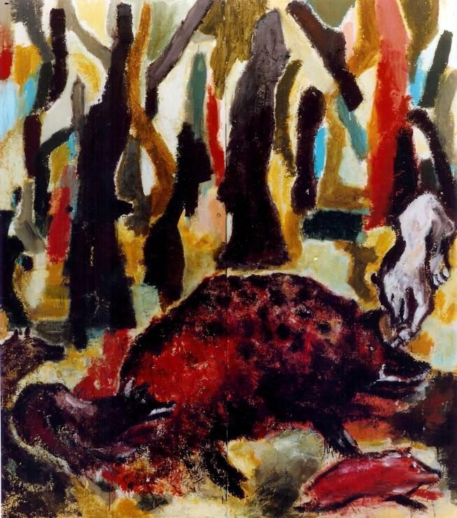 Wildschweinhatz, 1987, 280x270cm, Mischtechnik auf Leinwand