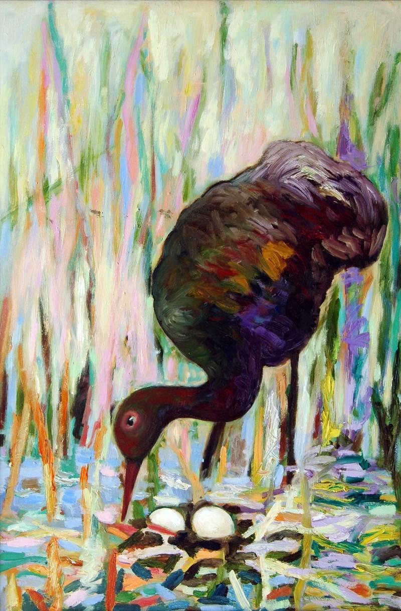 Kranich, 2010, 90x60cm, Öl auf Leinwand