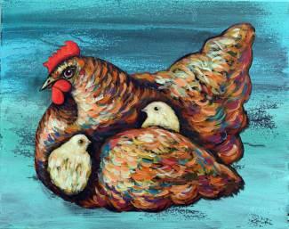 Huhn mit Kueken, 2016, 40x50cm, Acryl auf Leinwand