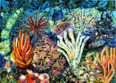 Im Meer (1) A, 2020, 50x70cm, Acryl auf Leinwand