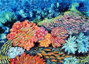 Im Meer (2), 2020, 50x70cm, Acryl auf Leinwand