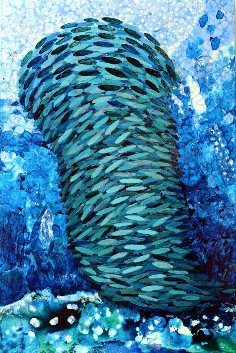 Tiefsee (1), 2020,150x100cm, Mischtechnik auf Leinwand