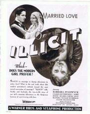 Illicit (1931) Film Poster