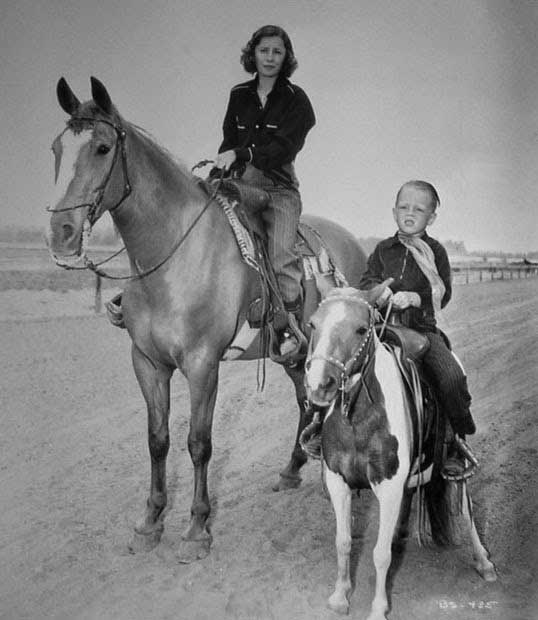 Barbara Stanwyck Biography: with son Dion at Marwyck Ranch