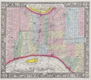 Multi colored map of wards in Philadelphia between Schuylkill and Delaware Rivers showing ferry routes.