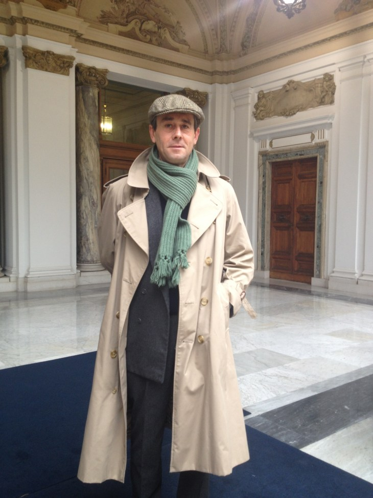 husband wearing classic vintage burberry and tailor made double breast