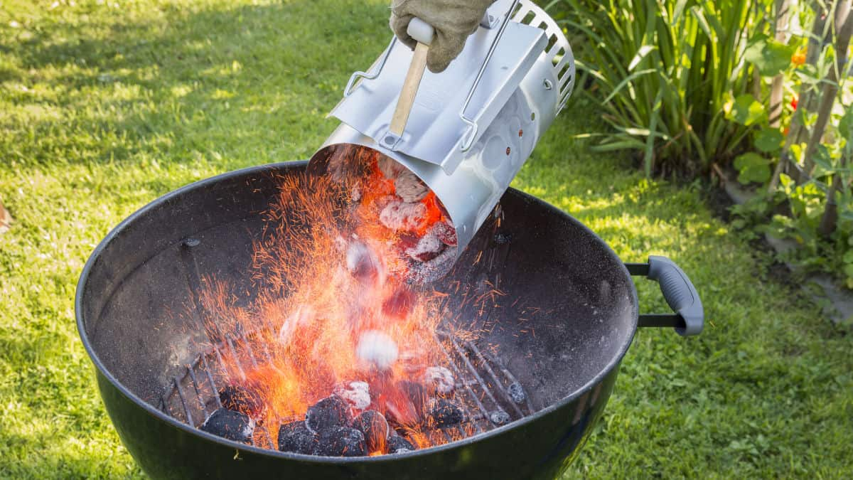 charcoal grill with a chimney starter