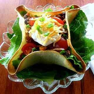 Chicken Taco Salad in Tortilla Bowls