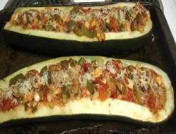 Barbequed Chicken Stuffed Zucchini