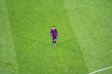 Leo Messi on Camp Nou pitch