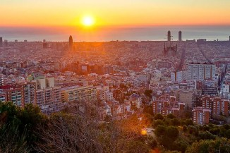 View of Barcelona sunset from Park Guell