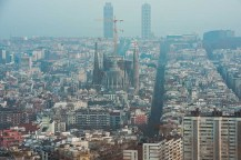 Panoramic view of Barcelona with Sagrada Familia