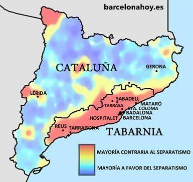 Propuesta de división de Cataluña en dos territorios: Lazitania y Tabarnia.