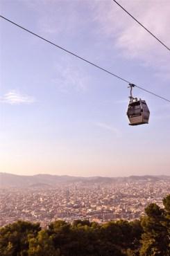 Kabelbaan op de Montjuic in Barcelona
