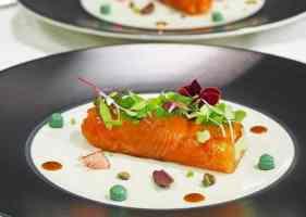 Vis, sla, kleuren, bord, eten