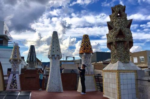 Het dak van Palau Güell