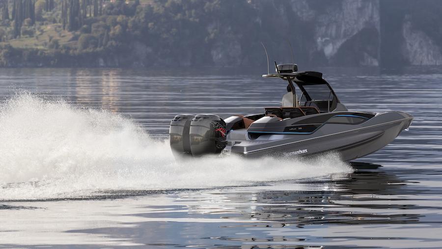 Grey Hawk 38 on lake (aft end)